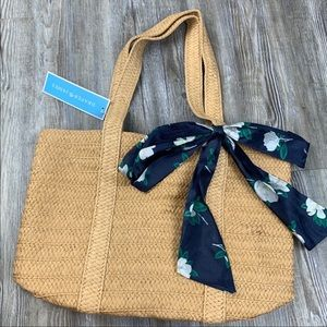 NWT Draper James Straw Bag with Navy Floral Scarf